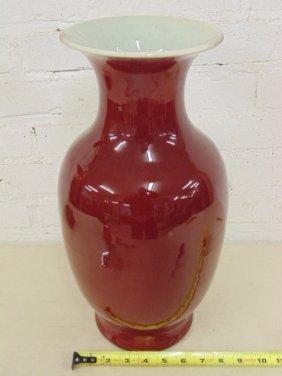 Large oxblood Asian Chinese vase
