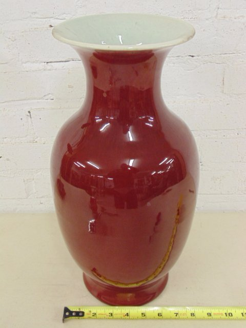 Large oxblood Asian Chinese vase