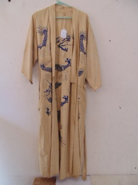 Chinese robe, blue embroidered dragon