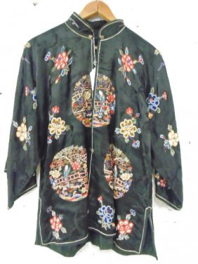 Chinese embroidered jacket, black silk