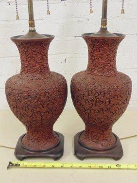 Pair Chinese Cinnabar lamps