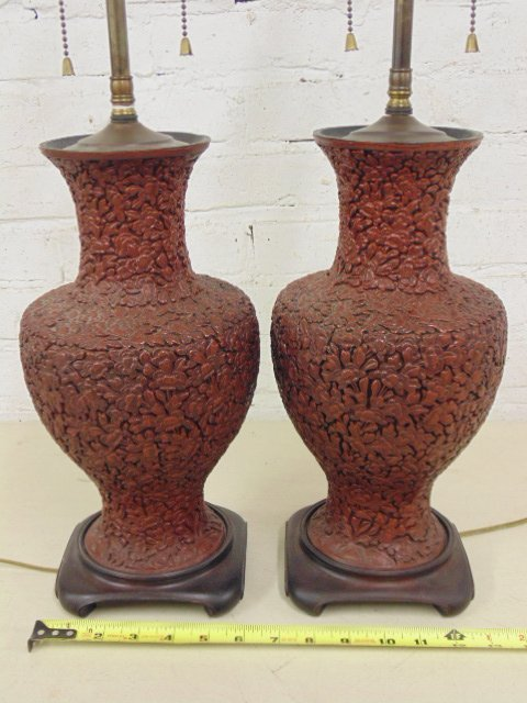 Pair Chinese Cinnabar lamps
