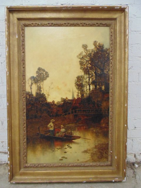 Painting, courting scene, signed Karl Heffner