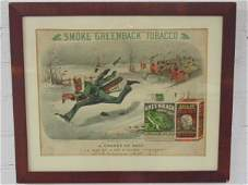 """Currier & Ives """"Greenback"""" Tobacco advertising print"""