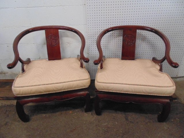 Pair Chinese mahogany arm chairs
