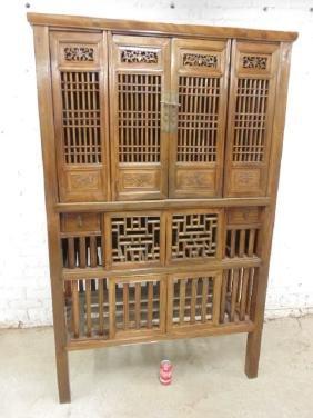 Chinese elm kitchen cabinet, 19th Century