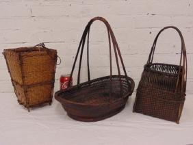3 Asian Japanese baskets 1940's