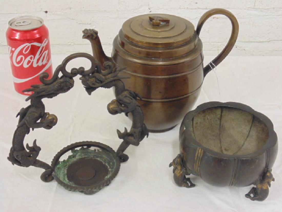 Asian bronze lot, tea pots, bowl with mice feet