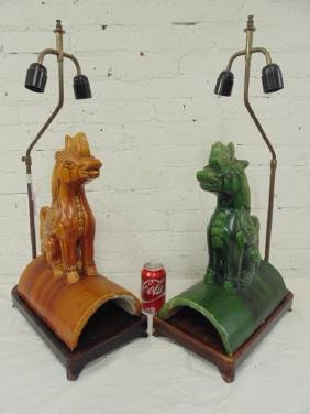 2 Chinese rooftop dragon form tile finials