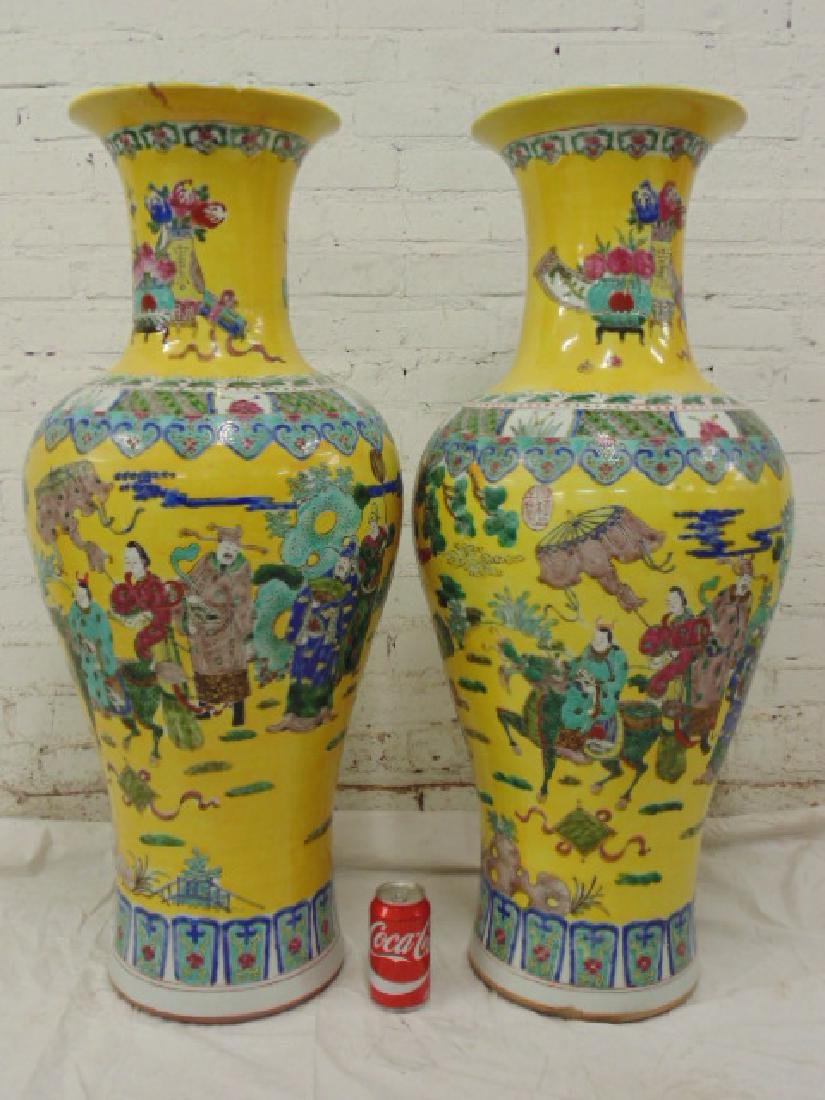 Pair large Asian Chinese palace urns