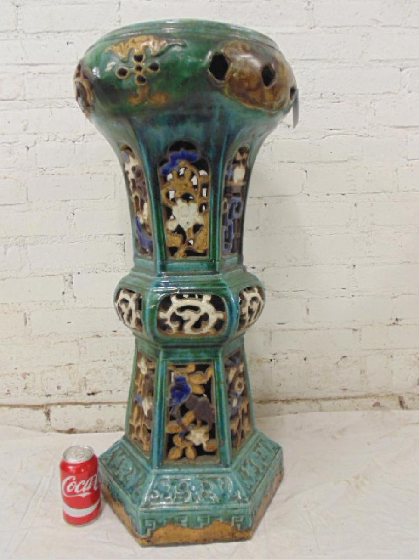 Glazed terra cotta pedestal, Asian