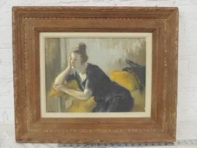 Painting, portrait of a lady, signed Susan Kahn