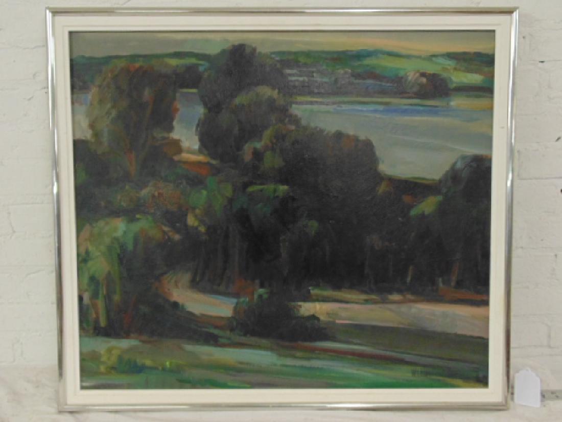 Painting, Hudson River landscape, George Wexler