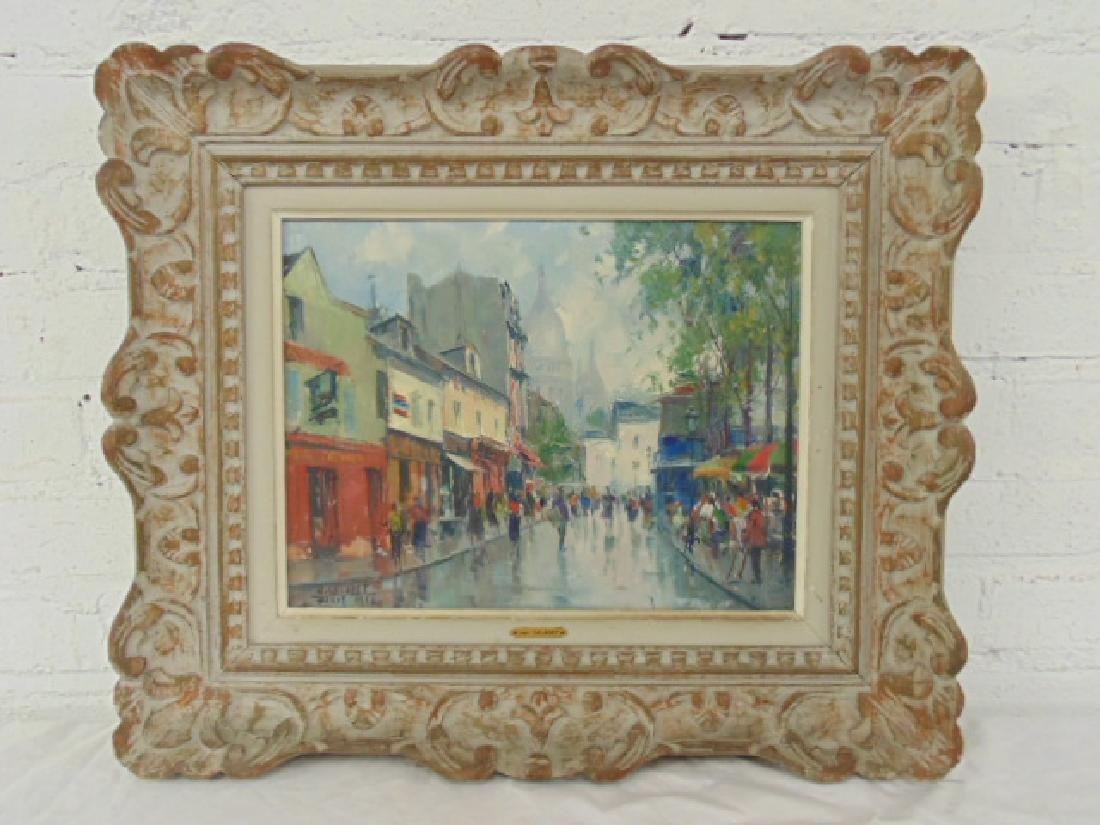"""Painting, """"Place du Tertre"""",  Jean Salabet 1952"""