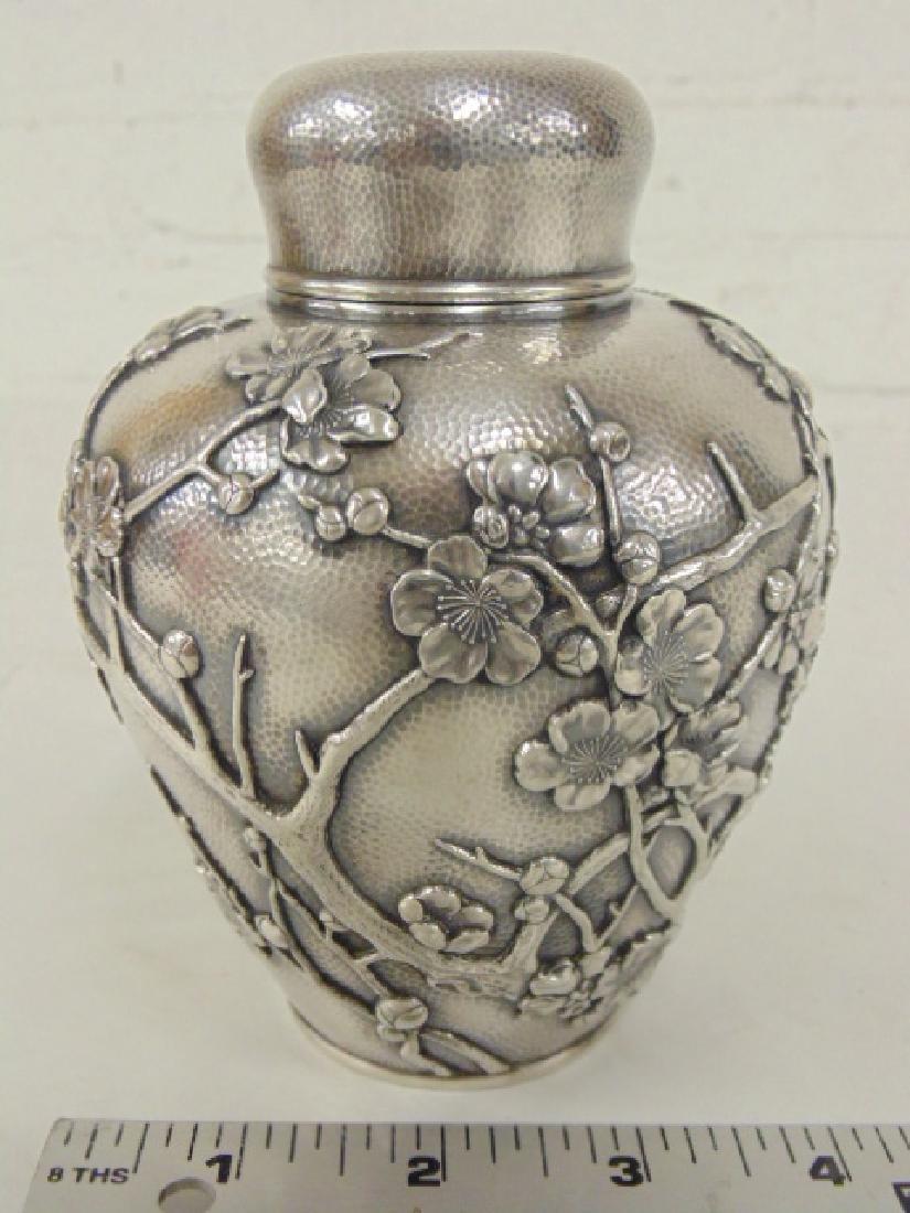Japanese silver jar, bottle