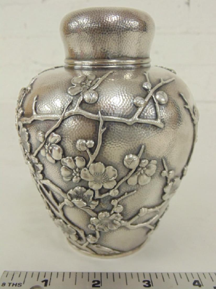 Japanese silver jar, bottle - 2