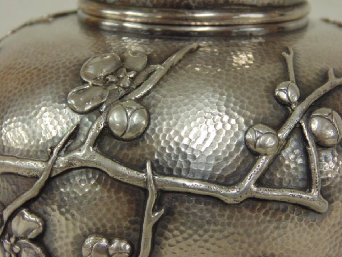 Japanese silver jar, bottle - 4