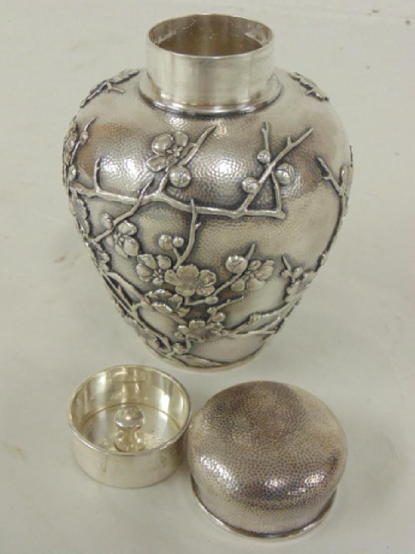 Japanese silver jar, bottle - 6