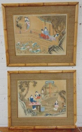 Pair Asian, Chinese watercolors