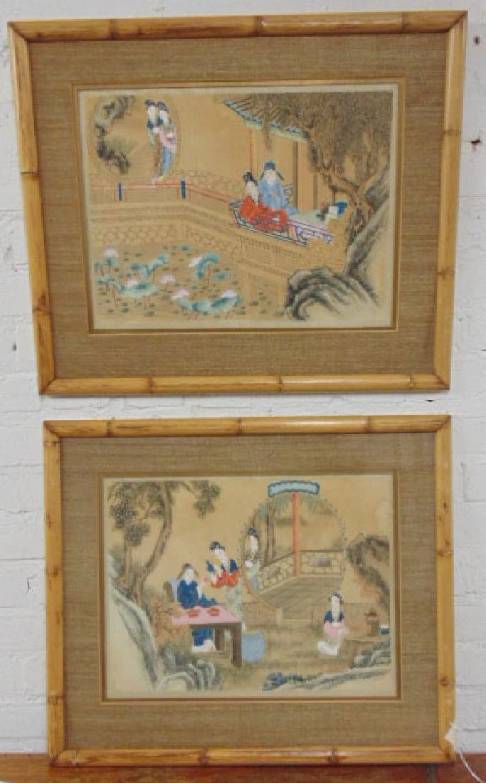 Pair Asian, Chinese watercolors