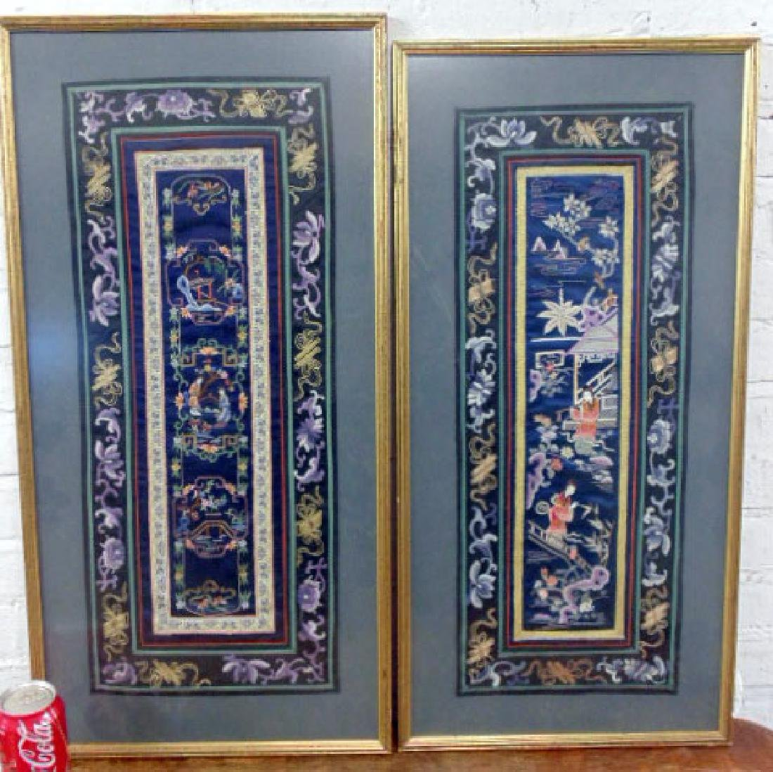 Pair Chinese embroideries, blue silk
