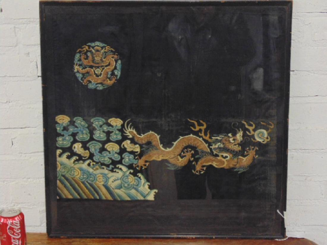 Chinese embroidered panel with dragon