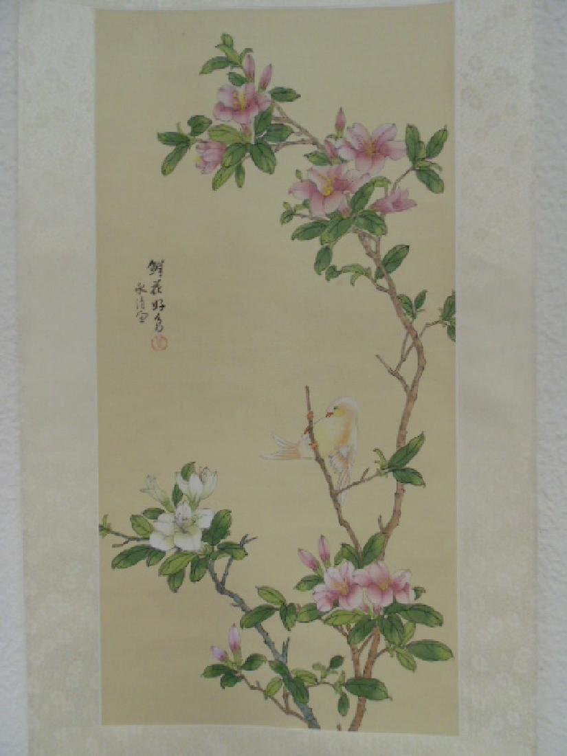 Chinese scroll, watercolor, flowers