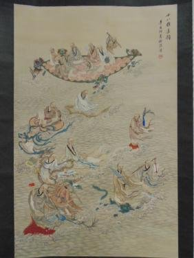 Chinese scroll, figures, priests, watermonsters