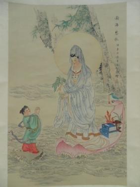 Large Chinese scroll, figure before goddess