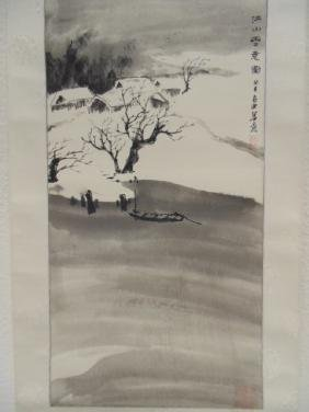 Chinese scroll, winter landscape