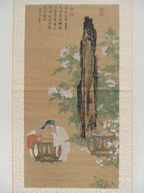 Chinese scroll, two children by stand
