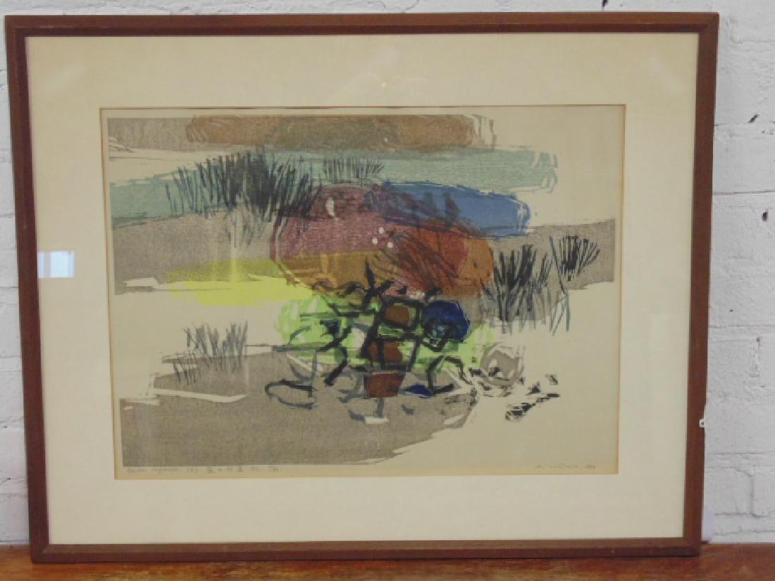 "Woodblock, ""Garden Impression"" A. Valmia"