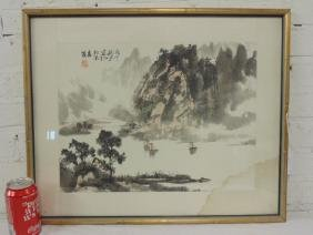 Chinese watercolor, junks in bay