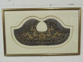 Asian gilt embroidered textile, collar