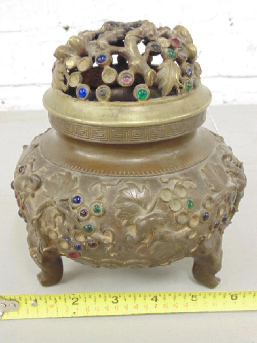 Asian bronze incense jar with lid