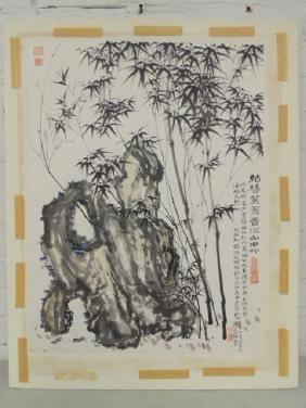 Chinese watercolor bamboo & crickets
