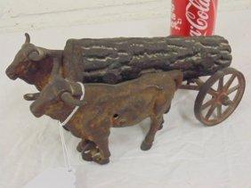 Cast iron ox cart toy
