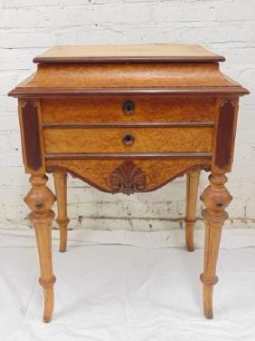 Birdseye maple Victorian sewing stand