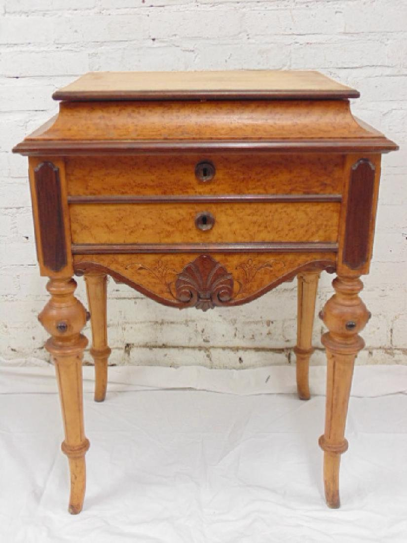 Birdseye maple Victorian sewing stand