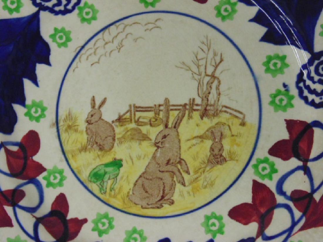 Stick Spatter rabbit plate, rabbits & frog - 2