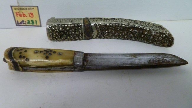 231: Silver-Scabbard TIBETAN KNIFE