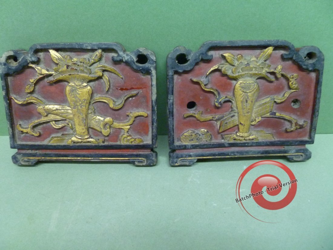 """036: PAIR of CARVED WOOD """"ENDS"""""""