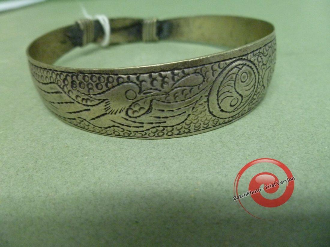 037: DRAGON and PHOENIX Silver Bracelet