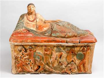 An Etruscan terracotta sarcophagus