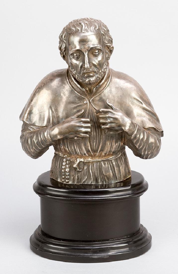 Italian silver sculpture of a saint