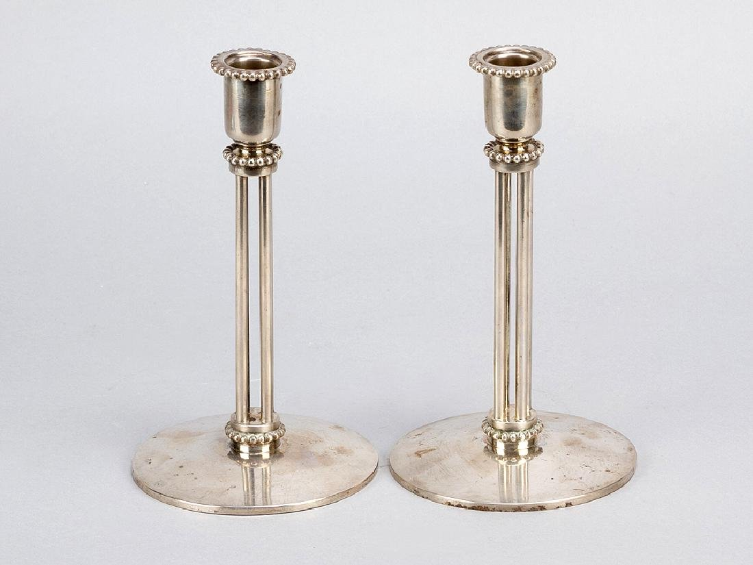 Pair of Austrian Jugendstil silver candle sticks