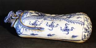 Chinese porcelain head rest in form of a bag blue