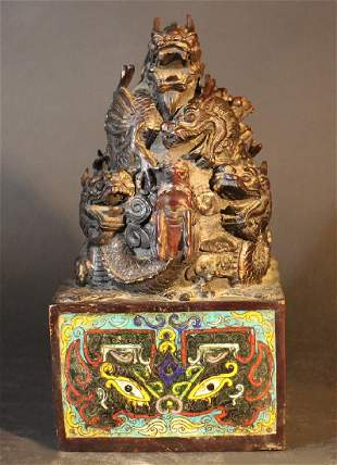 Chinese big imperial bronze stamp bronze cast with