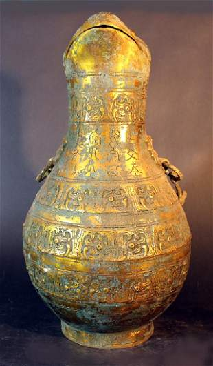 Big Chinese ceremonial bronze pot partially gilded and