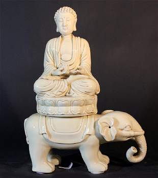 Chinese porcelain sculpture of Guanyin on an elephant